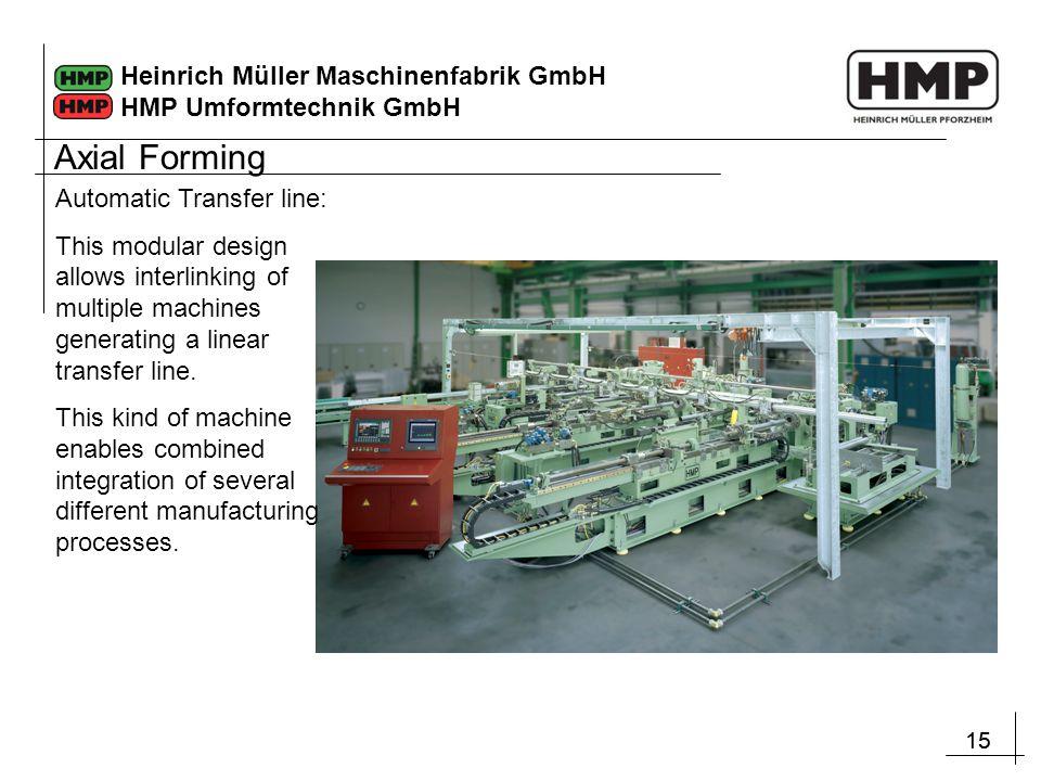 15 Heinrich Müller Maschinenfabrik GmbH HMP Umformtechnik GmbH Automatic Transfer line: This modular design allows interlinking of multiple machines generating a linear transfer line.