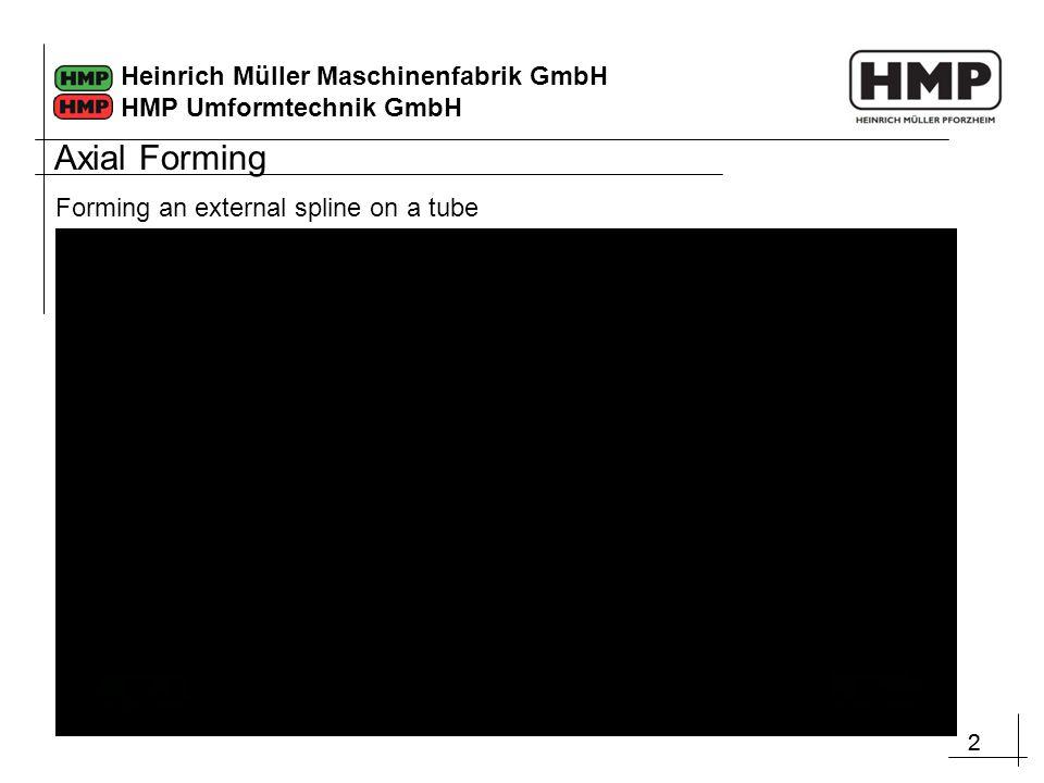 22 Heinrich Müller Maschinenfabrik GmbH HMP Umformtechnik GmbH Axial Forming Forming an external spline on a tube