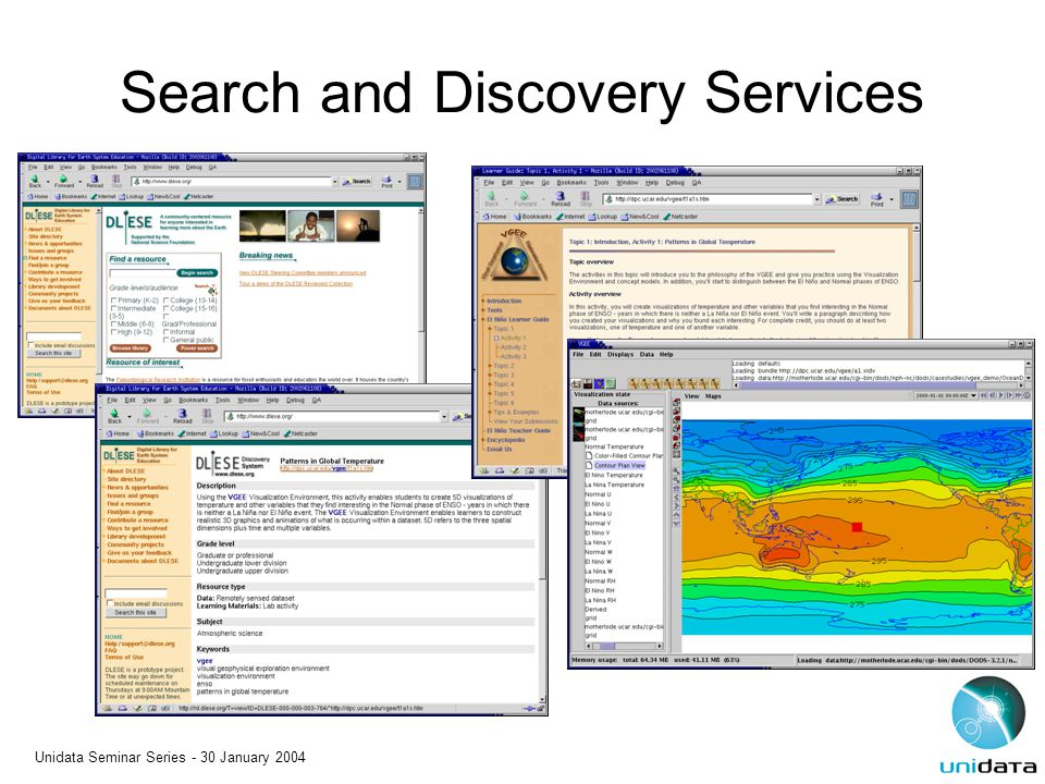 Unidata Seminar Series - 30 January 2004 Search and Discovery Services