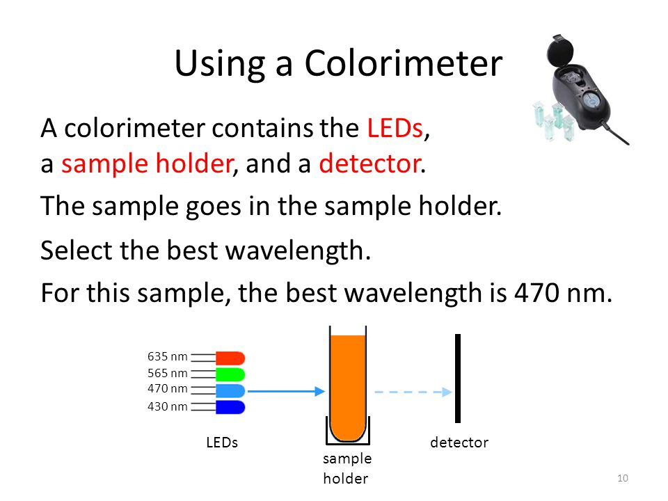 Using a Colorimeter A colorimeter contains the LEDs, a sample holder, and a detector.