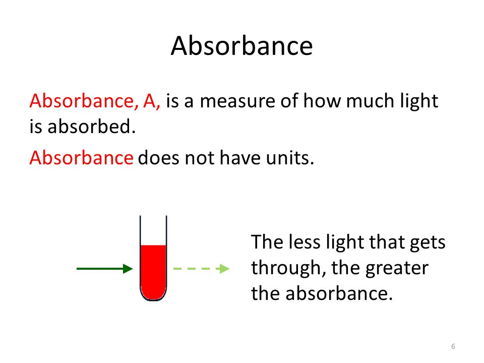 Absorbance Absorbance, A, is a measure of how much light is absorbed.