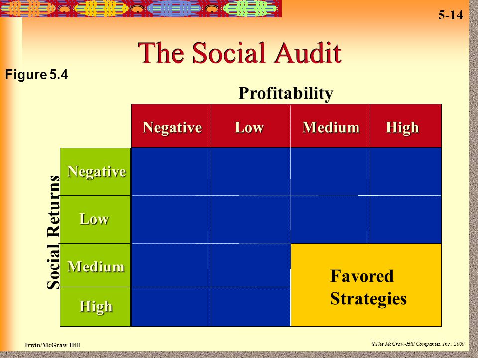 Irwin/McGraw-Hill ©The McGraw-Hill Companies, Inc., 2000 5-14 The Social Audit Profitability NegativeLowMediumHigh Negative Low Medium High Favored St