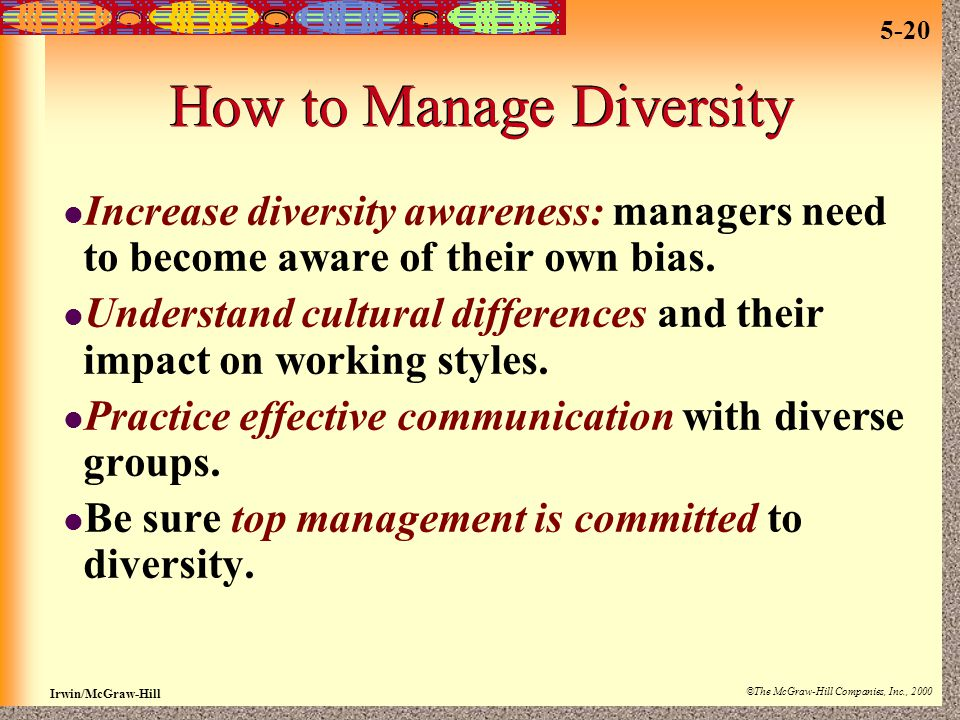 Irwin/McGraw-Hill ©The McGraw-Hill Companies, Inc., 2000 5-20 How to Manage Diversity Increase diversity awareness: managers need to become aware of t