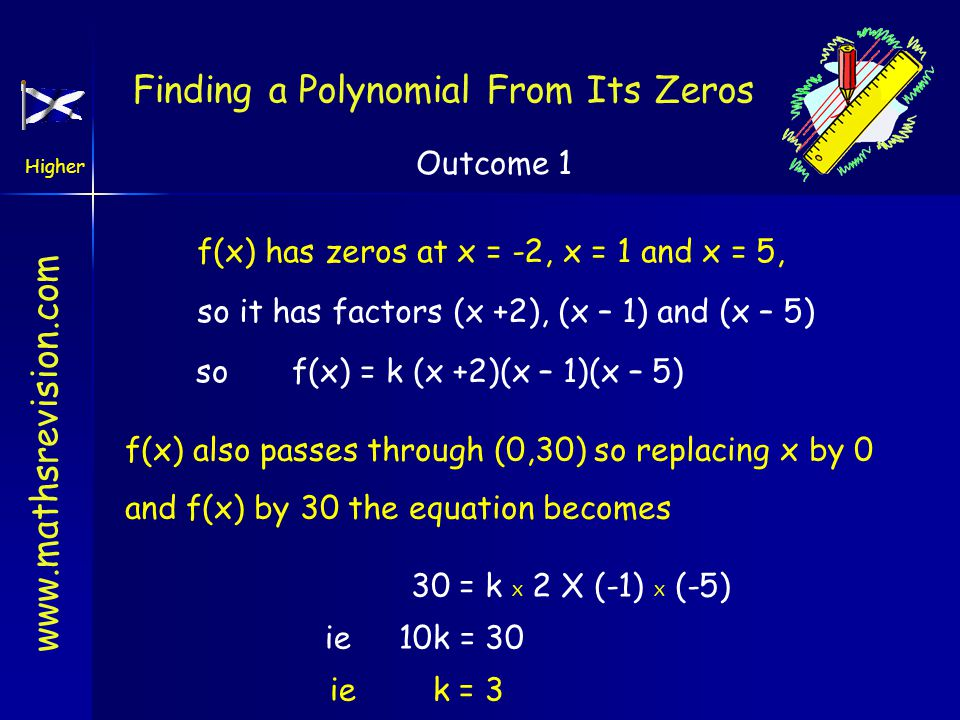 www.mathsrevision.com Higher Outcome 1 f(x) has zeros at x = -2, x = 1 and x = 5, so it has factors (x +2), (x – 1) and (x – 5) sof(x) = k (x +2)(x – 1)(x – 5) f(x) also passes through (0,30) so replacing x by 0 and f(x) by 30 the equation becomes 30 = k X 2 X (-1) X (-5) ie 10k = 30 ie k = 3 Finding a Polynomial From Its Zeros