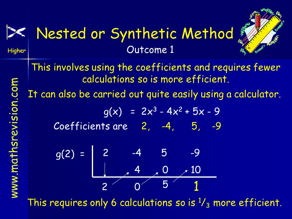 www.mathsrevision.com Higher Outcome 1 Nested or Synthetic Method This involves using the coefficients and requires fewer calculations so is more efficient.