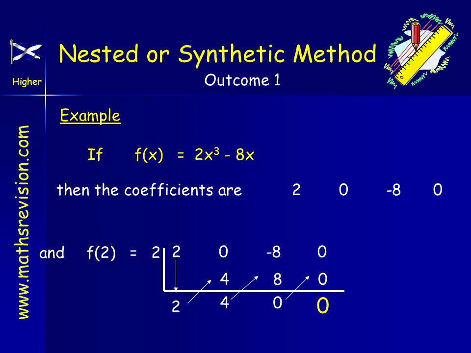 www.mathsrevision.com Higher Outcome 1 Example Iff(x) = 2x 3 - 8x then the coefficients are20-80 andf(2) = 2 20-8 0 2 4 4 8 0 0 0 Nested or Synthetic Method