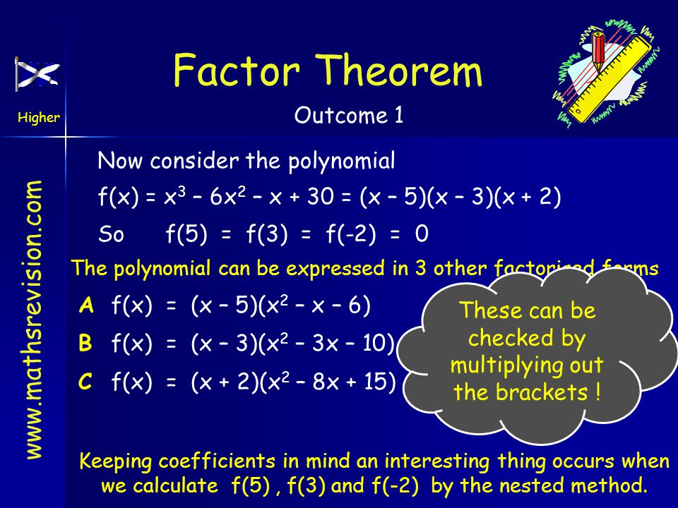 www.mathsrevision.com Higher Outcome 1 Formula isf(x) = 3(x + 2)(x – 1)(x – 5) f(x) = (3x + 6)(x 2 – 6x + 5) f(x) = 3x 3 – 12x 2 – 21x + 30 Finding a Polynomial From Its Zeros