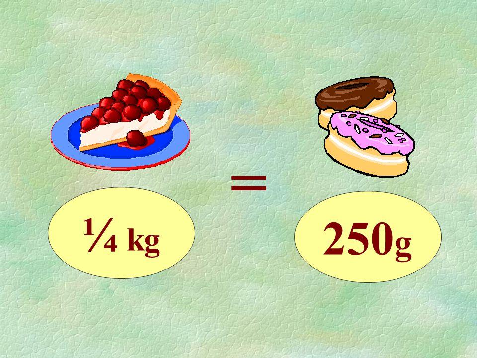 ¼ kg = 250 g