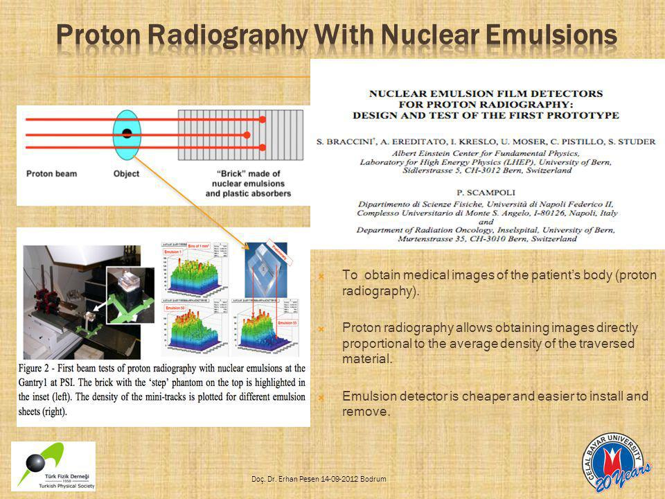  To obtain medical images of the patient's body (proton radiography).  Proton radiography allows obtaining images directly proportional to the avera