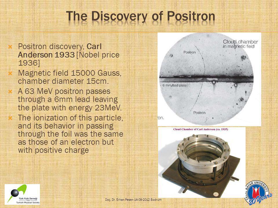 Doç. Dr. Erhan Pesen 14-09-2012 Bodrum  Positron discovery, Carl Anderson 1933 [Nobel price 1936]  Magnetic field 15000 Gauss, chamber diameter 15cm
