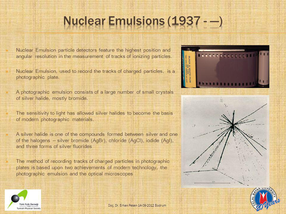 Doç. Dr. Erhan Pesen 14-09-2012 Bodrum  Nuclear Emulsion particle detectors feature the highest position and angular resolution in the measurement of