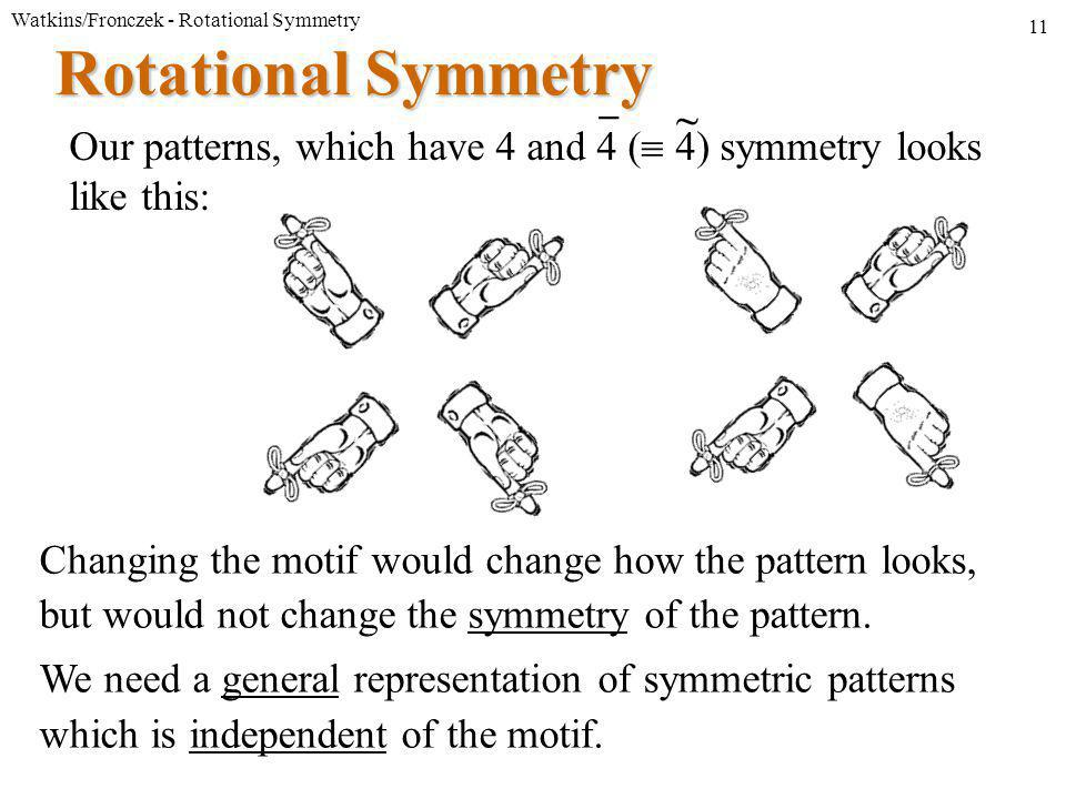 Watkins/Fronczek - Rotational Symmetry 11 Rotational Symmetry Our patterns, which have 4 and 4 (  4) symmetry looks like this: Changing the motif would change how the pattern looks, but would not change the symmetry of the pattern.