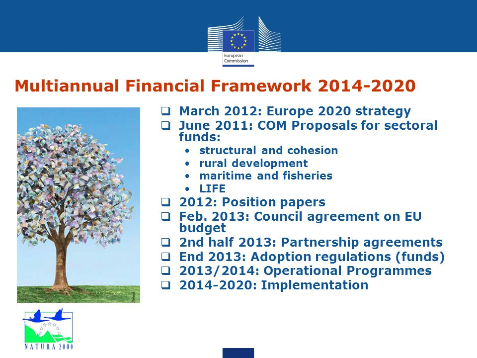 Multiannual Financial Framework 2014-2020  March 2012: Europe 2020 strategy  June 2011: COM Proposals for sectoral funds: structural and cohesion ru