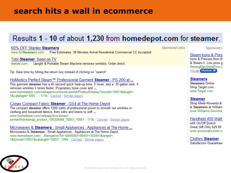 © 2008 Endeca Technologies, Inc. All rights reserved. 8 search hits a wall in ecommerce