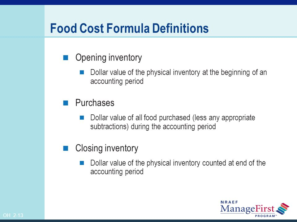 OH 2-14 The Food Cost Percentage Formula Food cost÷Sales=Food cost percentage
