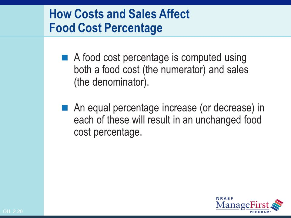 OH 2-21 Ten Percent Increase in Sales and Cost of Food Original cost of food$1,000 Original sales$3,000 Food cost percentage33% With 10% increase in sales and food cost New cost of food$1,100 New sales$3,300 Food cost percentage33% Realigned numbers