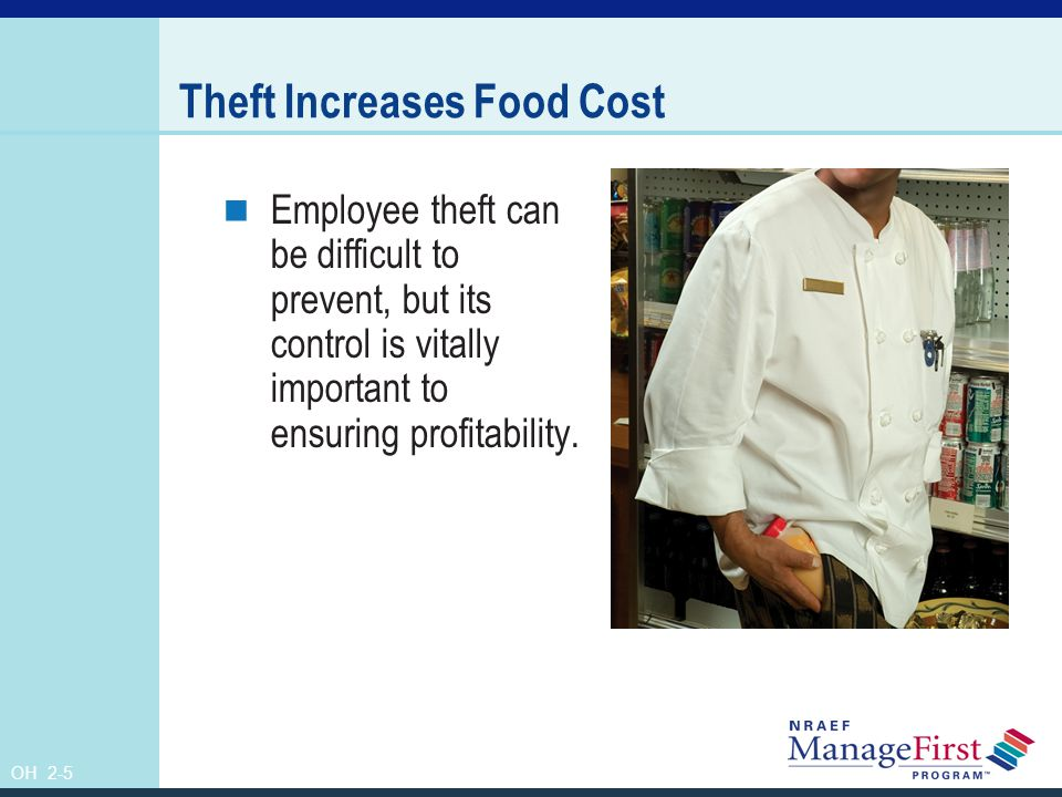 OH 2-6 Reductions from Cost of Food Employee meals The actual cost of the food served to employees is subtracted from cost of food.