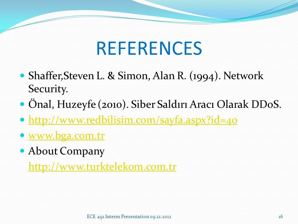 REFERENCES Shaffer,Steven L. & Simon, Alan R. (1994).