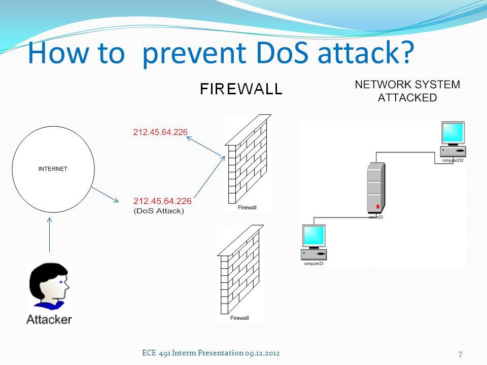 How to prevent DoS attack ECE 491 Interm Presentation 09.12.20127