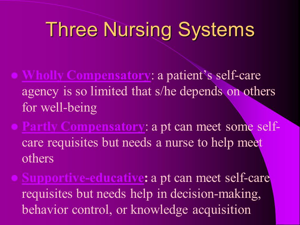 Three Nursing Systems Wholly Compensatory: a patient's self-care agency is so limited that s/he depends on others for well-being Partly Compensatory: