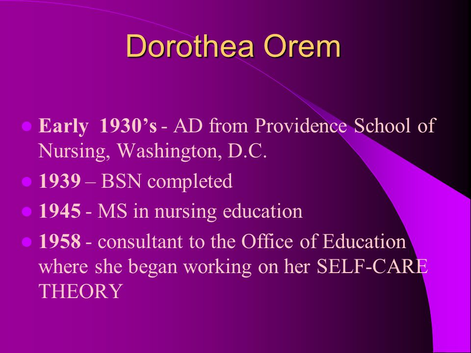 Dorothea Orem 1959 - first published her theory in Guides for Developing Curricula for the Education of Practical Nurses (a government publication) 1976 - honorary Doctorate of Science from Georgetown University 1999 - last edition of her theory was published
