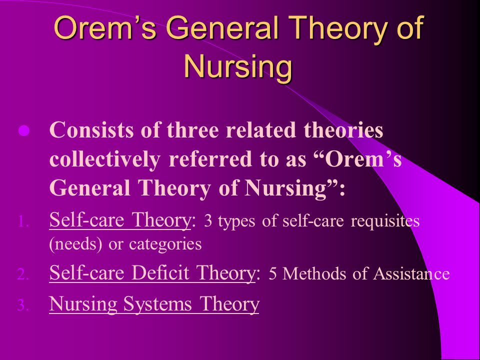 Orem's Self-care Theory Based on the concepts of: SELF-CARE SELF-CARE AGENCY SELF-CARE REQUISITES THERAPEUTIC SELF-CARE DEMAND