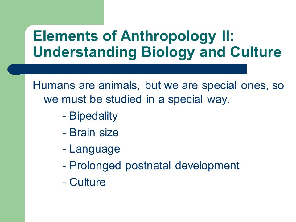 Elements of Anthropology II: Understanding Biology and Culture Humans are animals, but we are special ones, so we must be studied in a special way.