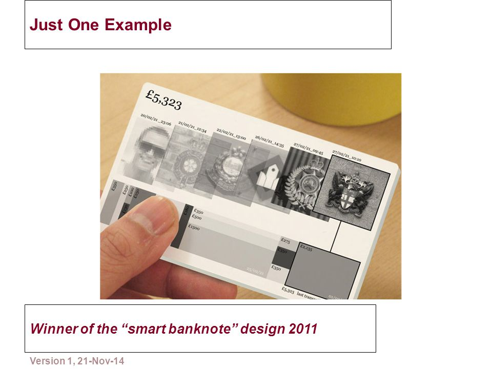 "Just One Example Winner of the ""smart banknote"" design 2011 16 Please copy and distribute Version 1, 21-Nov-14"