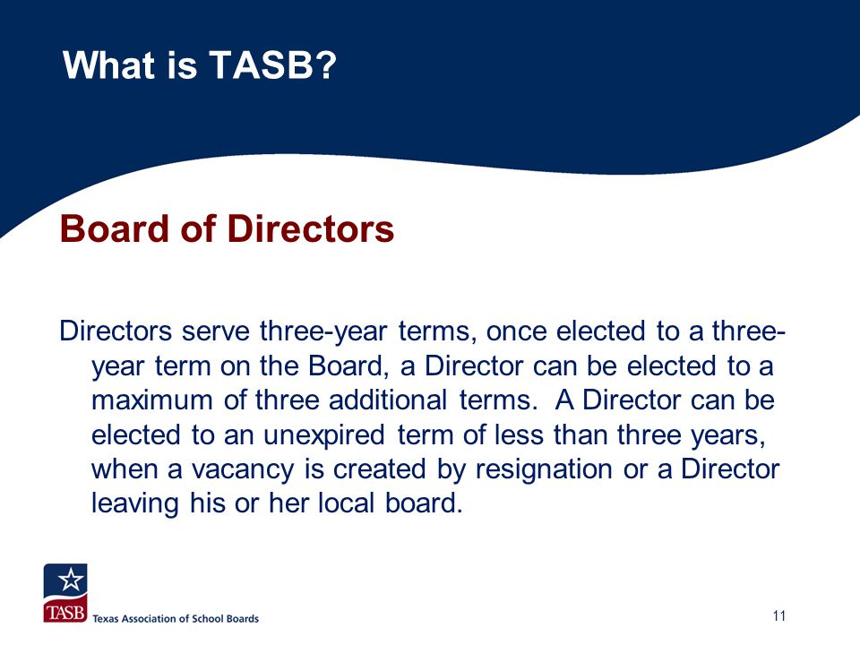 Board of Directors Directors serve three-year terms, once elected to a three- year term on the Board, a Director can be elected to a maximum of three