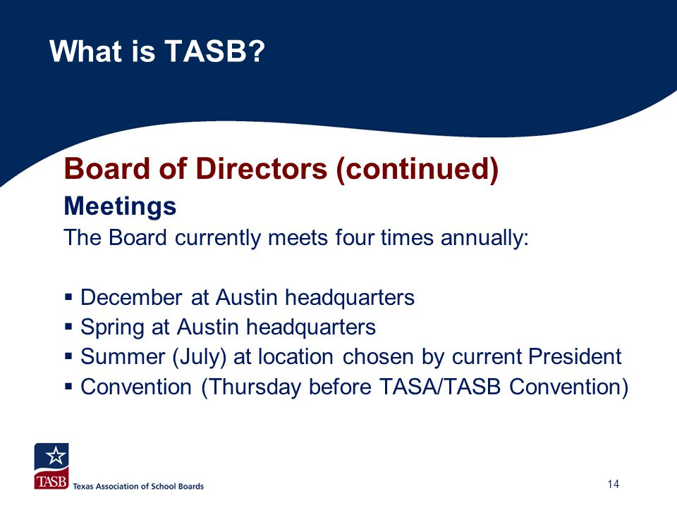 Board of Directors (continued) Meetings The Board currently meets four times annually:  December at Austin headquarters  Spring at Austin headquarte