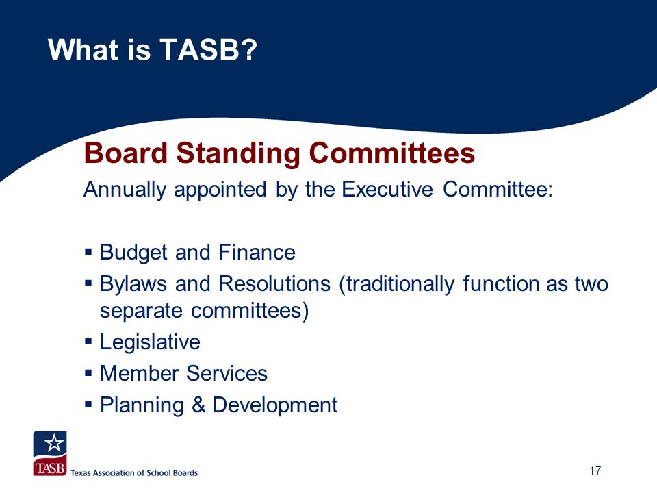 Board Standing Committees Annually appointed by the Executive Committee:  Budget and Finance  Bylaws and Resolutions (traditionally function as two