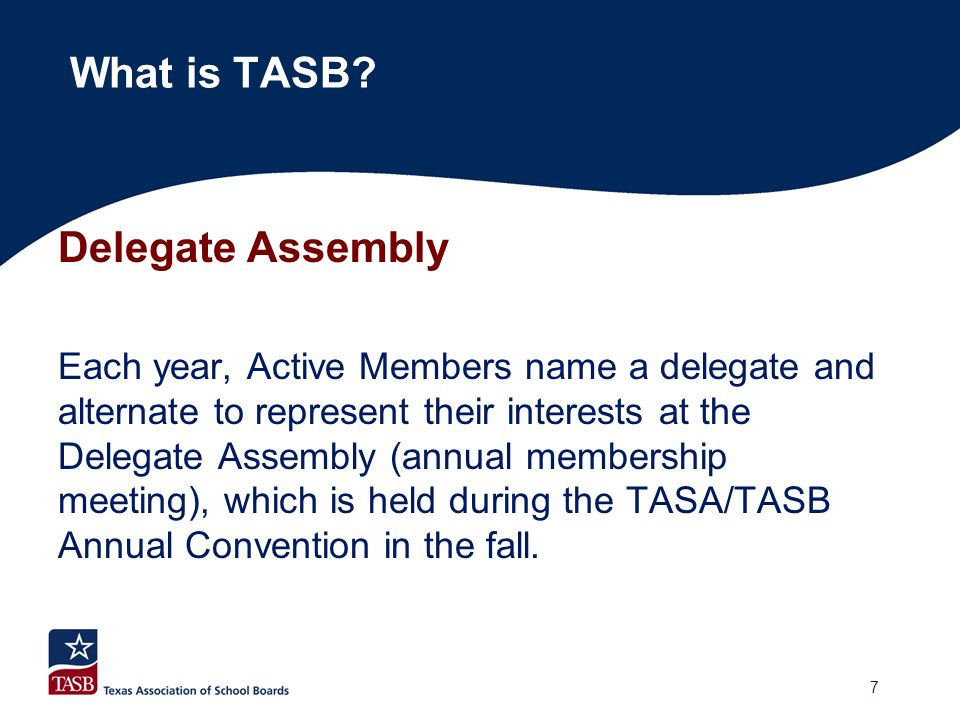 Other Board Committees  Executive Committee (Officers and Executive Director)  Nominations Committee (Elected by the Board at the Convention Meeting)  Special committees when appointed (Board approves committee, Executive Committee appoints members)  First Public Governance Committee (Officers and Executive Director ) What is TASB.