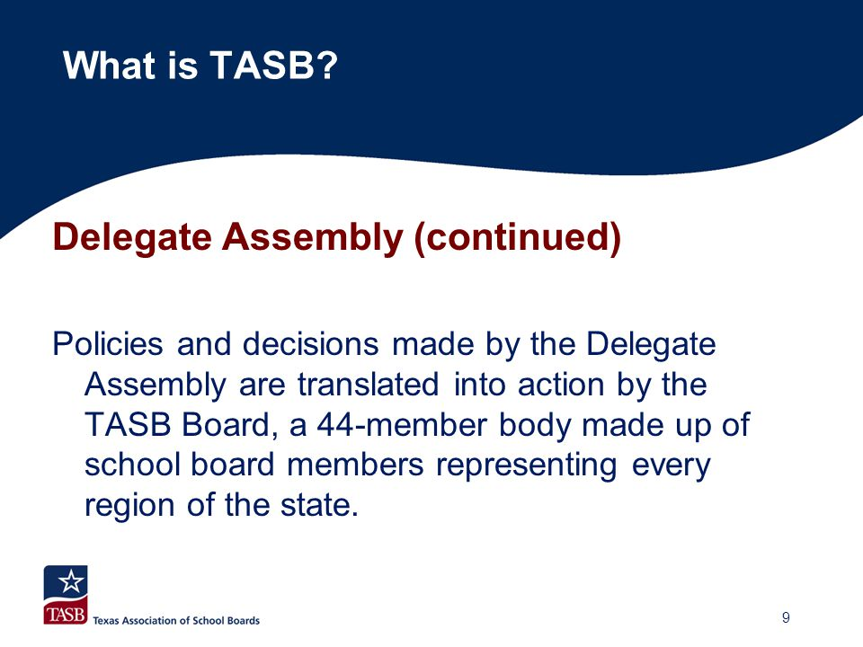Delegate Assembly (continued)  Elects the Officers and Board of Directors.