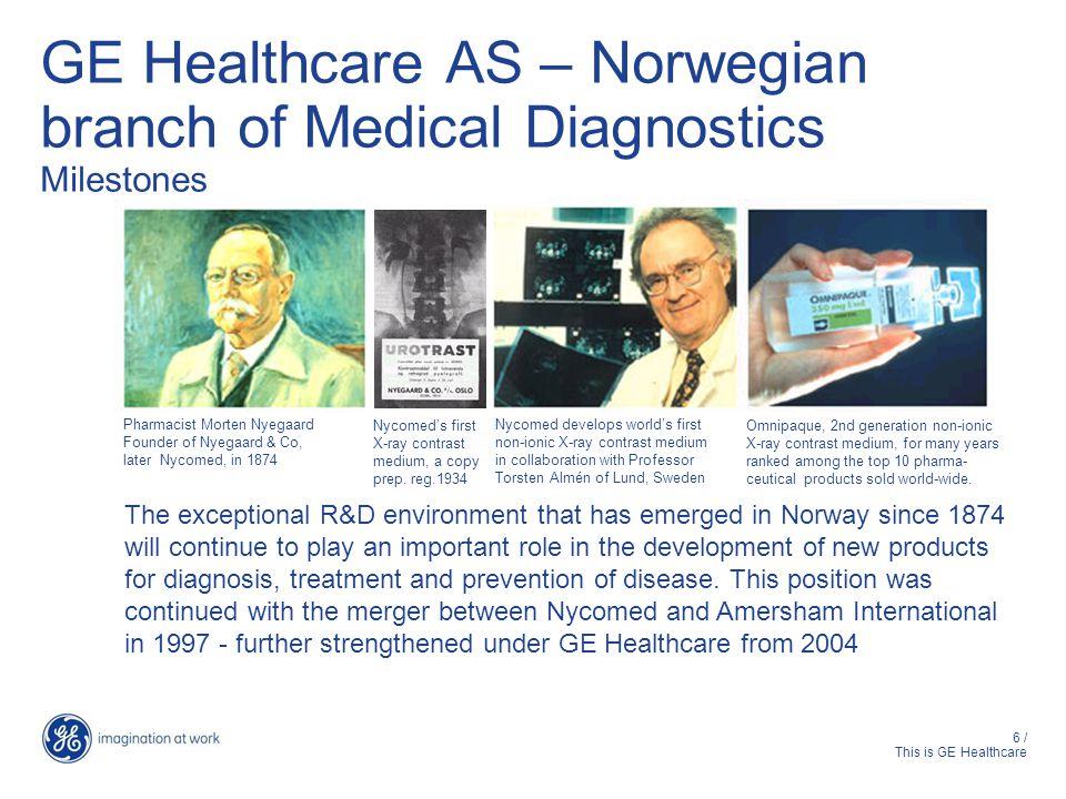 17 / This is GE Healthcare Fra Nyegaard & Co til GE Healthcare 1874 Morten Nyegaard, cand pharm 1890 Nyegaard & Co (Nyco) 1986Nycomed AS 1992Nycomed Imaging AS 1997Nycomed Amersham Imaging AS 2001 Amersham Health AS 2004GE Healthcare