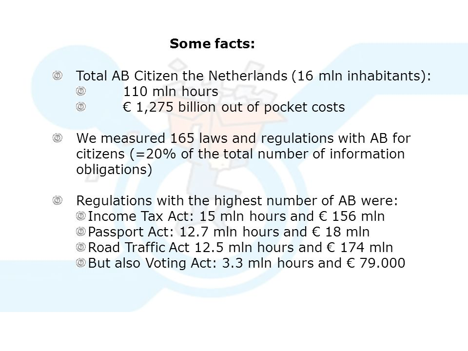Some facts: Total AB Citizen the Netherlands (16 mln inhabitants): 110 mln hours € 1,275 billion out of pocket costs We measured 165 laws and regulations with AB for citizens (=20% of the total number of information obligations) Regulations with the highest number of AB were: Income Tax Act: 15 mln hours and € 156 mln Passport Act: 12.7 mln hours and € 18 mln Road Traffic Act 12.5 mln hours and € 174 mln But also Voting Act: 3.3 mln hours and € 79.000