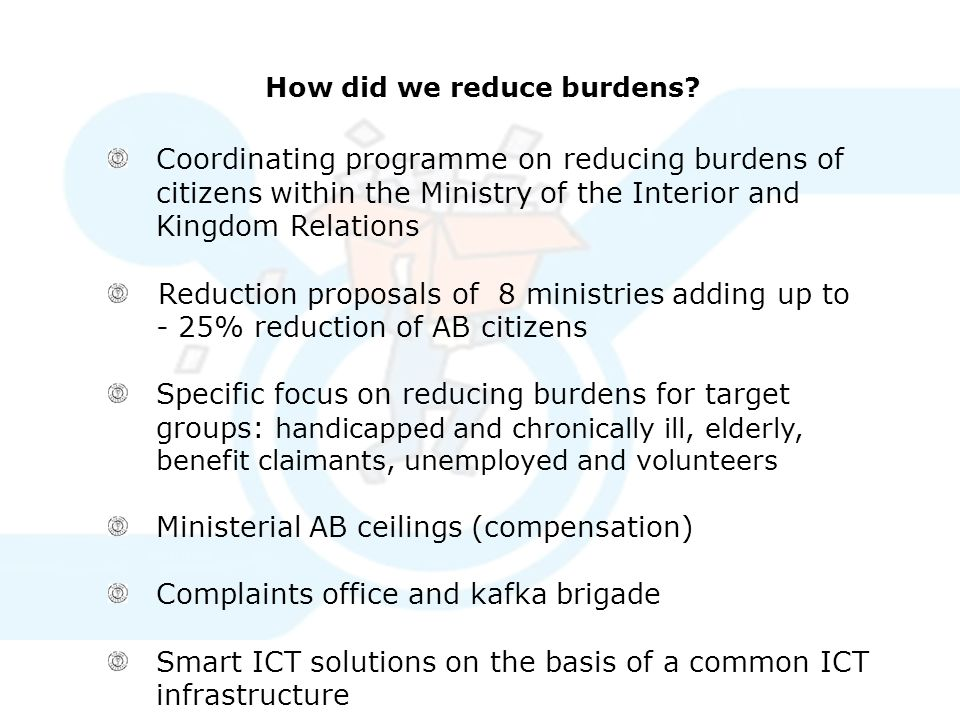How did we reduce burdens? Coordinating programme on reducing burdens of citizens within the Ministry of the Interior and Kingdom Relations Reduction