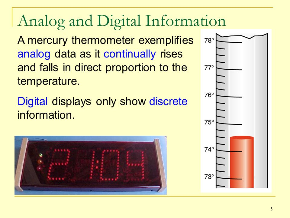 6 Analog and Digital Information Computers cannot work well with analog information, so we digitize it by sampling it at discrete intervals and representing each interval by a numeric value.