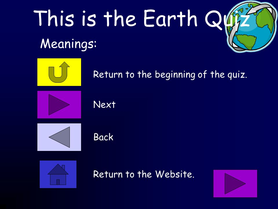 This is the Earth Quiz Return to the beginning of the quiz.