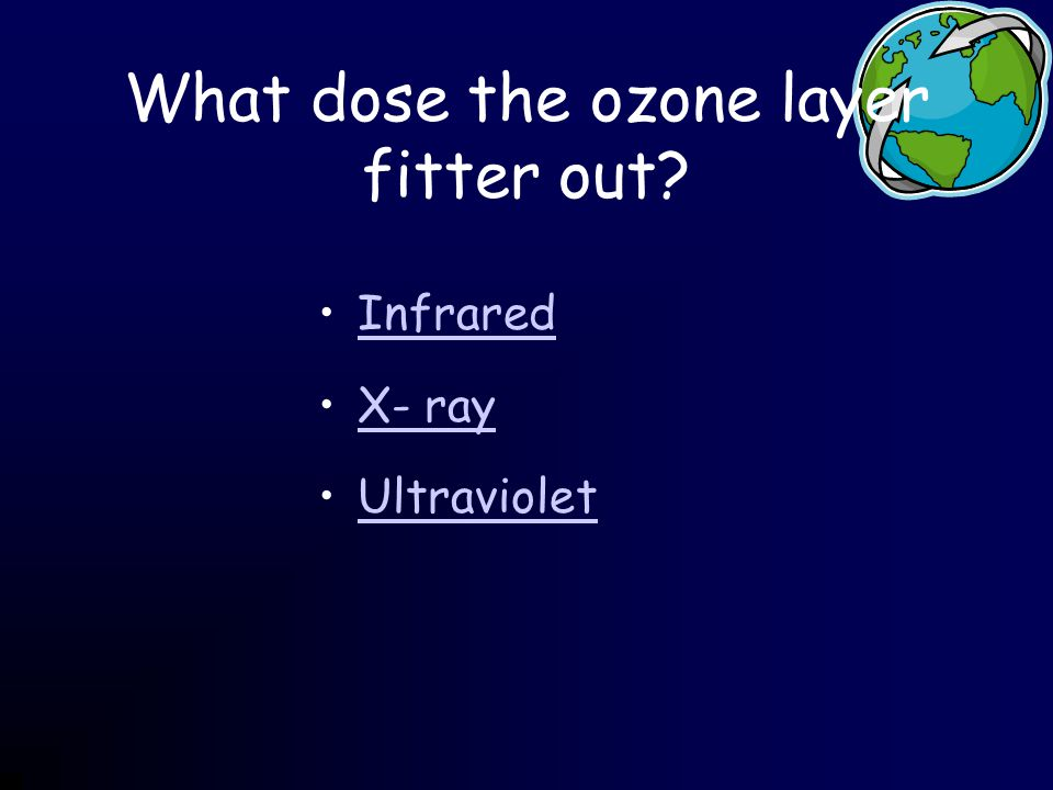 What dose the ozone layer fitter out Infrared X- ray Ultraviolet