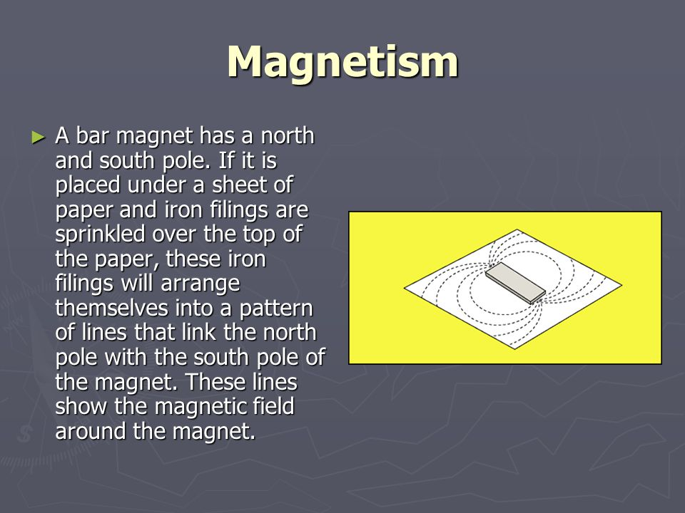 Magnetism ► A bar magnet has a north and south pole. If it is placed under a sheet of paper and iron filings are sprinkled over the top of the paper,