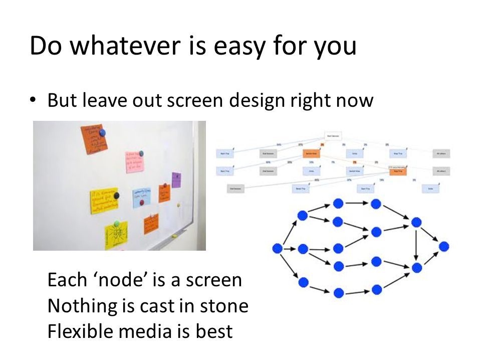 Now flesh out the screen designs This is where using a wall or, even better, a whiteboard is great A stickie, an index card, or a cut up piece of paper is a great form factor for a mobile screen Highest permissible tech, photocopies of screen outline
