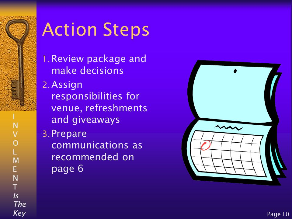 I N V O L M E N T Is The Key Page 10 Action Steps 1.