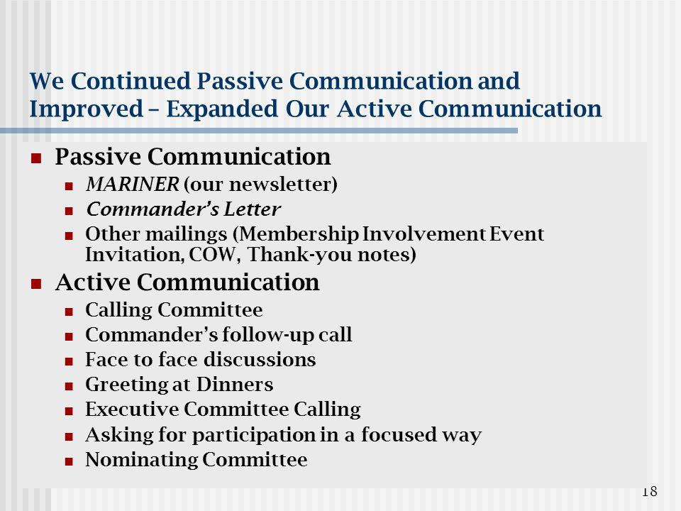 18 We Continued Passive Communication and Improved – Expanded Our Active Communication Passive Communication MARINER (our newsletter) Commander's Letter Other mailings (Membership Involvement Event Invitation, COW, Thank-you notes) Active Communication Calling Committee Commander's follow-up call Face to face discussions Greeting at Dinners Executive Committee Calling Asking for participation in a focused way Nominating Committee