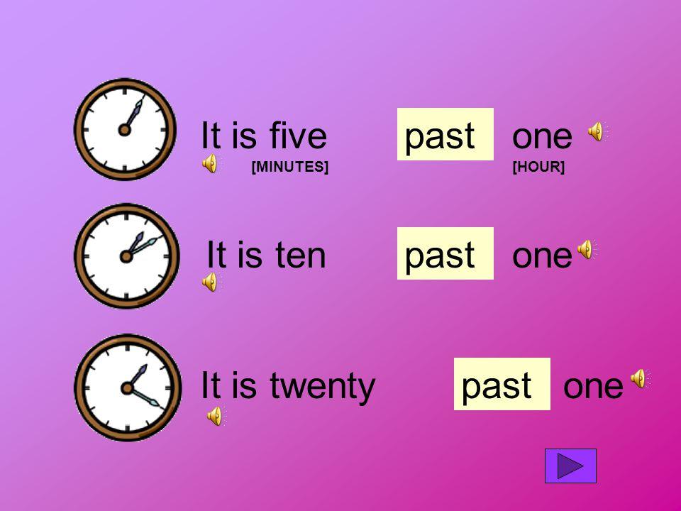 It is five [MINUTES] pastone [HOUR] It is tenpastone It is twentypastone