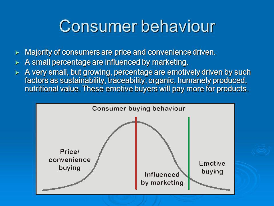 Consumer behaviour  Majority of consumers are price and convenience driven.