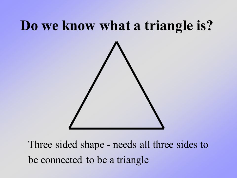 Do we know what a triangle is.