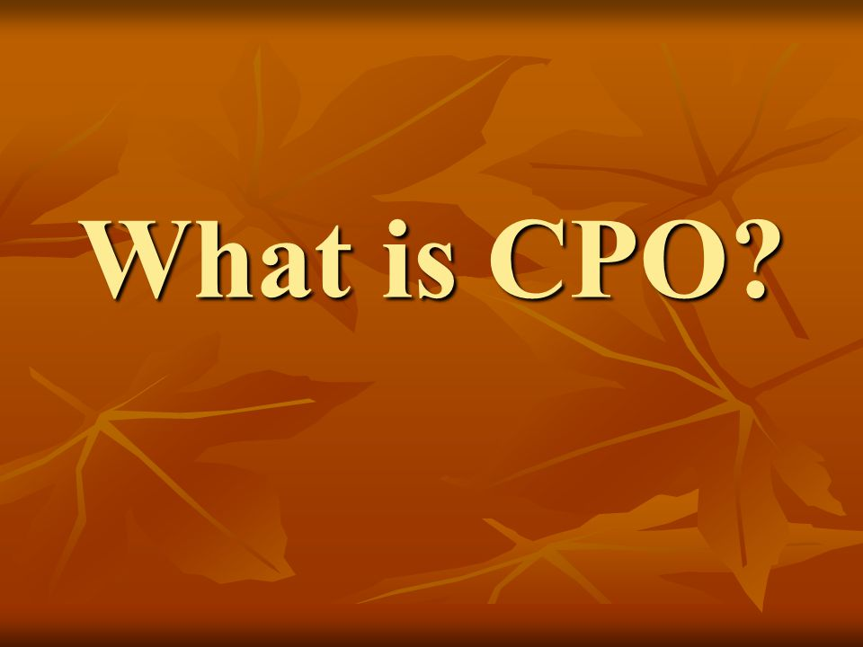 What is CPO?