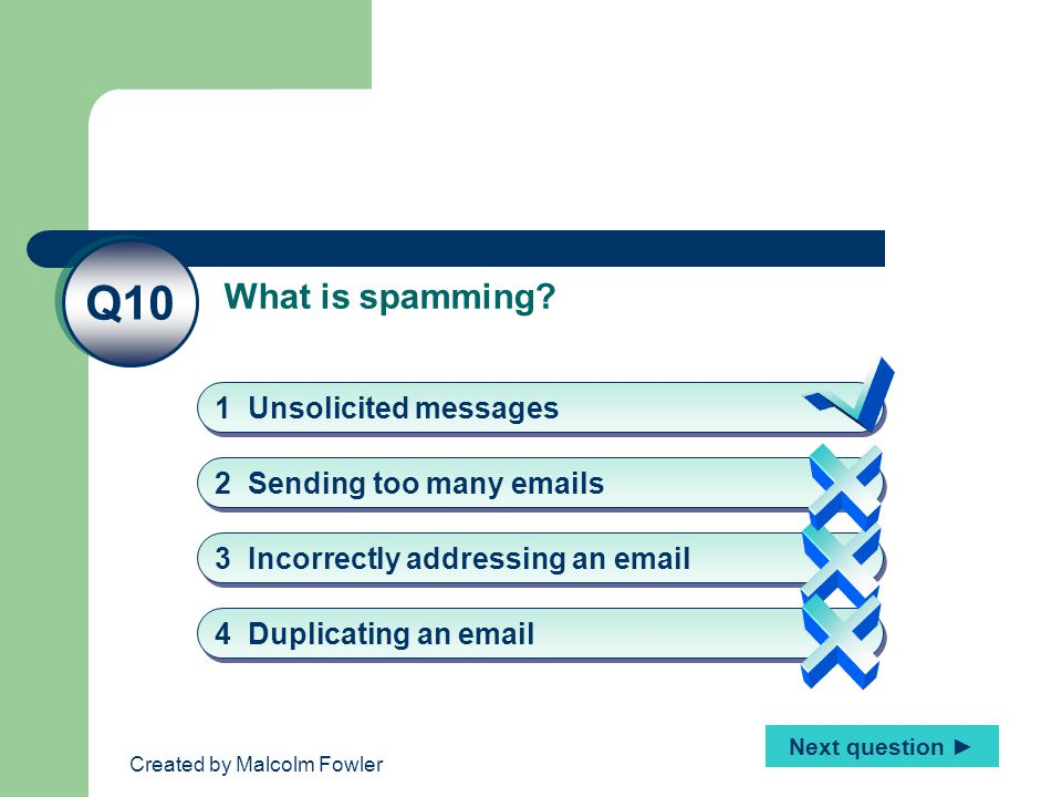 Created by Malcolm Fowler What is spamming.