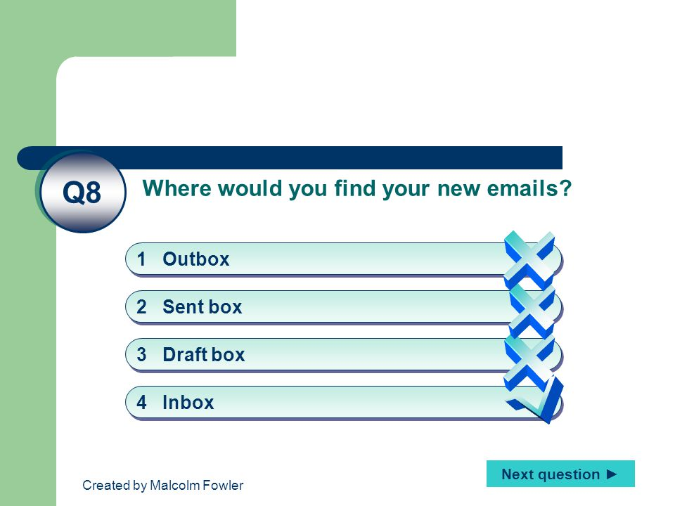 Created by Malcolm Fowler Where would you find your new emails.