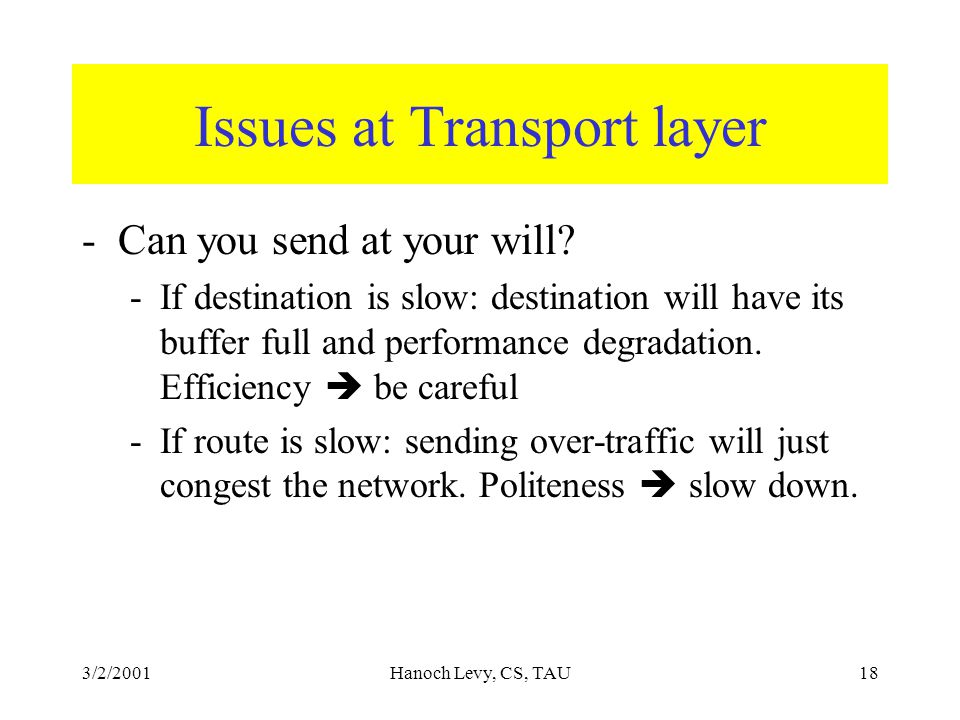 3/2/2001Hanoch Levy, CS, TAU18 Issues at Transport layer -Can you send at your will.